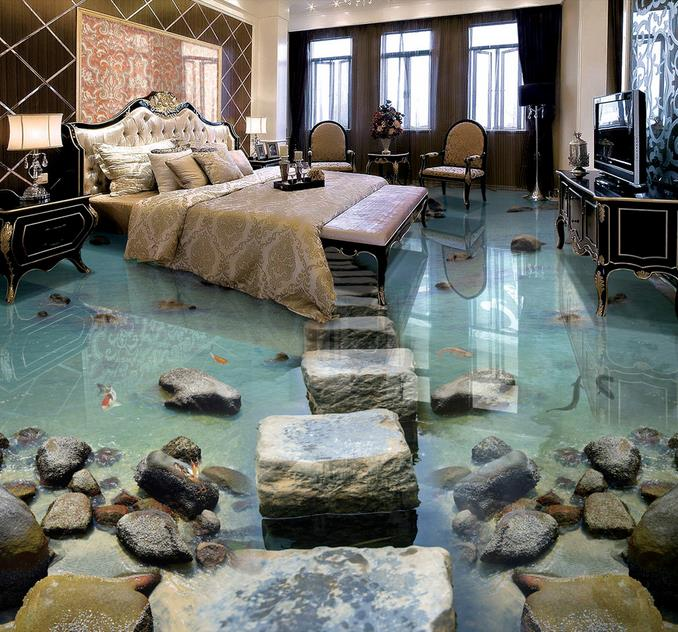3d Wallpaper Flooring Seaside Stone Pier Photo Floor Tiles Self Adhesive Wallpapers For