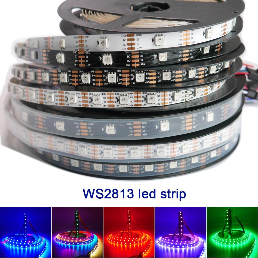 DC5V 1m/2m/3m/5m Dual-signal WS2813 led pixel strip 30/60/144 pixels/leds/m,WS2812B Updated Black/White PCB,IP30/IP65/IP67