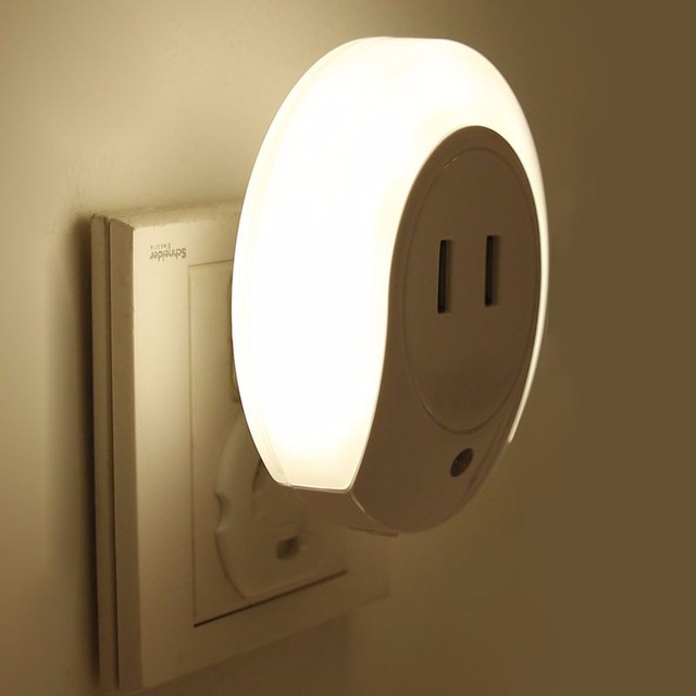 LED Night Light With Outlet And Switch Auto Motion Sensor 220V LED Night  Light Lamp