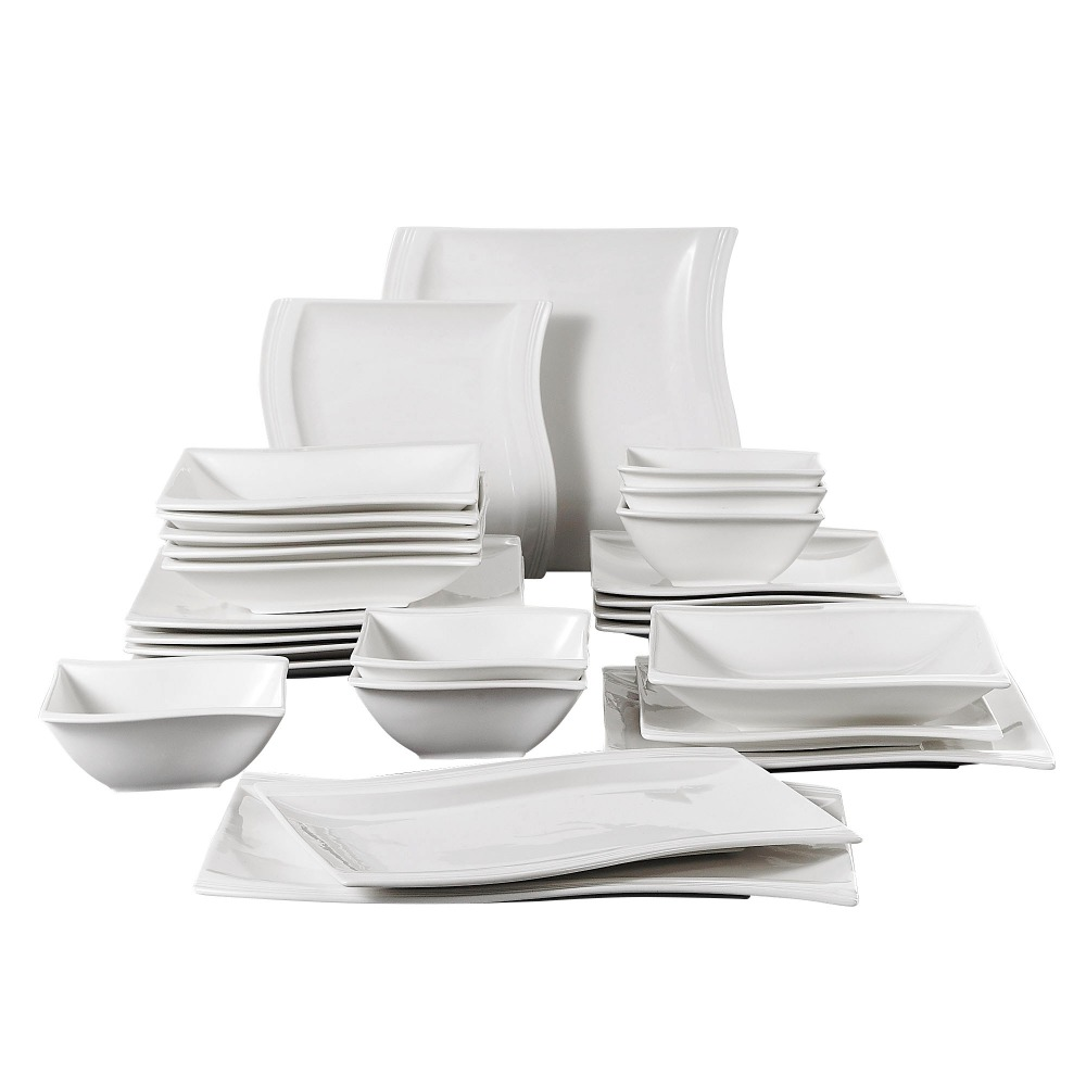 MALACASA Serie Flora 26-Piece Porcelain Dinner Set with Bowls Dessert Soup Dinner Plates Rectangular Plates Service for 6 PersonMALACASA Serie Flora 26-Piece Porcelain Dinner Set with Bowls Dessert Soup Dinner Plates Rectangular Plates Service for 6 Person