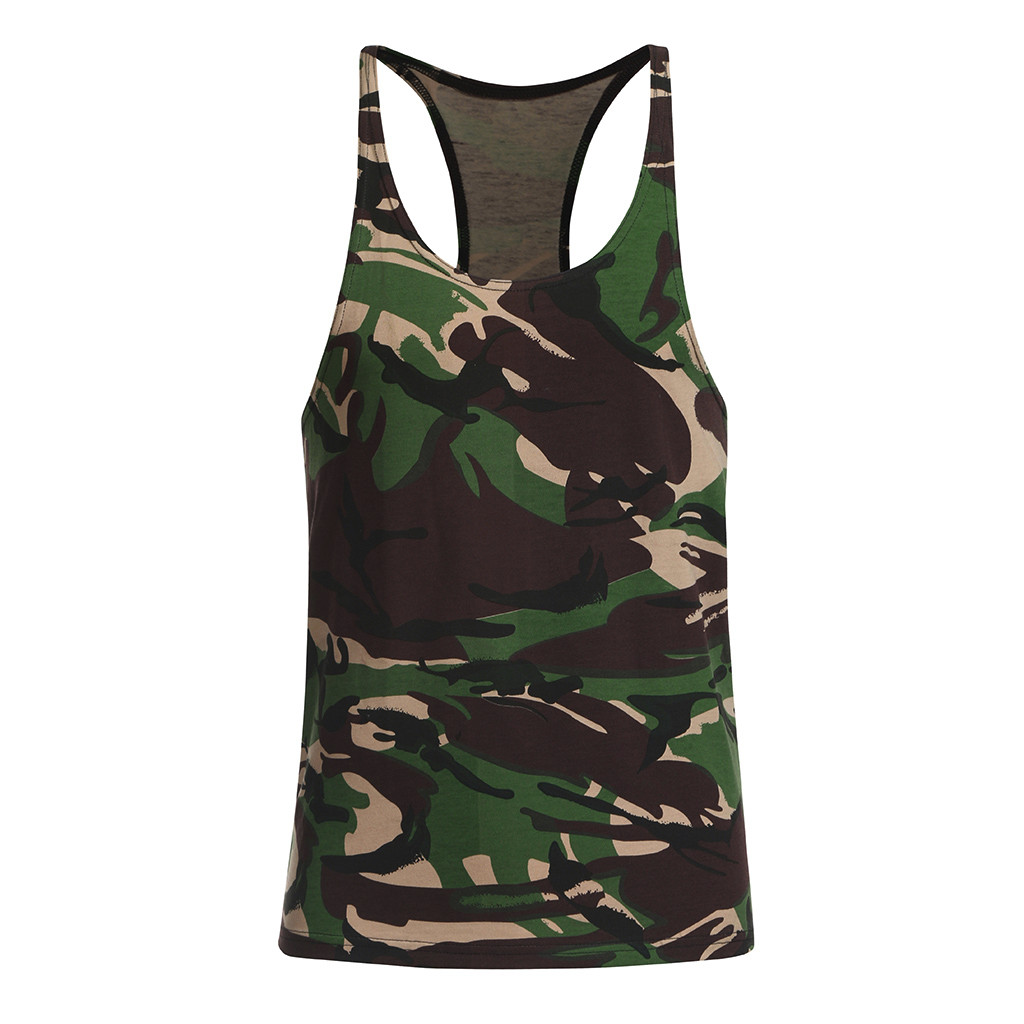 2019 New Classic Basic Green   Tank     Tops   Men   Tops   Boy Camis Casual Vest Sleeveless Shirt mens clothing Camouflage Vest