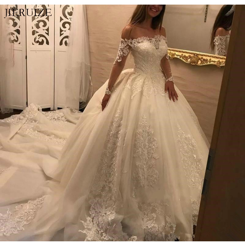 JIERUIZE Vintage Lace Appliques Princess Ball Gown Wedding Dresses Off The Shoulder Long Sleeves Bride Dresses Wedding Gowns