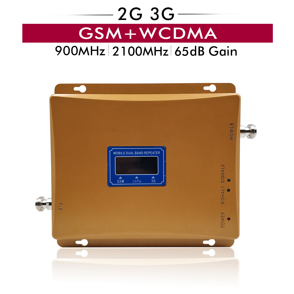 65dB Dual Band Booster 2G GSM 900MHz 3G UMTS WCDMA 2100MHz Cellular Cell Phone Repeater Mobile Signal Amplifier With LCD Display