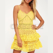 CUERLY 2019 Sexy v-neck embroidery women dress Spaghetti strap hollow out ruffled summer dress Elegant party mini dress vestidos цена и фото