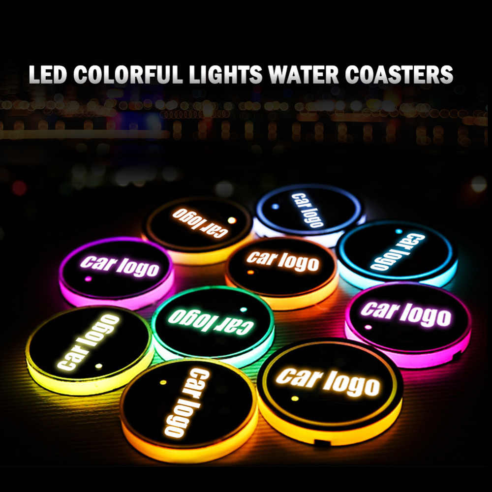 2pcs/set  7 Colors LED Car Logo Cup Pads Mats Bottle Coasters USB Charging LED Atmosphere Lamps New Design