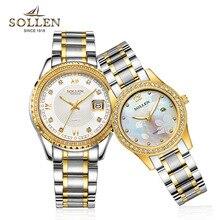 SOLLEN высокое качество мужские алмазов кварцевые часы женщины полоса световой часы водонепроницаемые часы из нержавеющей стали