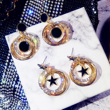 New Symmetrical Star Earrings Multilayer encrusted Metal Circle Temperament Aura Girl Have Accessories