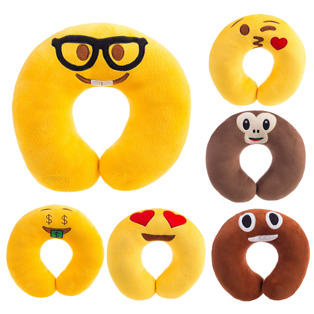U Shaped Cartoon Travel Pillow Cute Cartoon Emoji Pattern Neck
