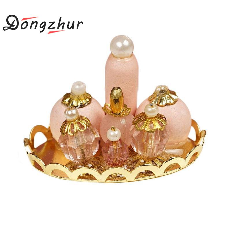 1/12 Scale Pink Perfume Tray Miniature Furniture Fabric Model Mini Dollhouse Furniture Doll Bedroom Bath Dolls House