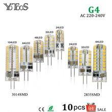 10pcs Lot Led Light G4 AC 220V 240V High Power Corn Bulb Lamp 3014SMD Silica gel lamps Replace Chandelier Crystal halogen Light