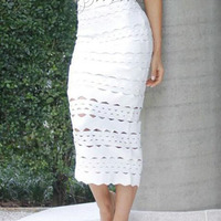 2017 New Elegant White Sexy Hollow Out Midi Party Wear Wholesale Women Bandage Skirt Women Bottom Women Skirt