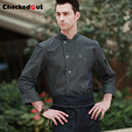 New arrival high quality cotton long sleeve grey stand collar french chef jacket denim cook work wear