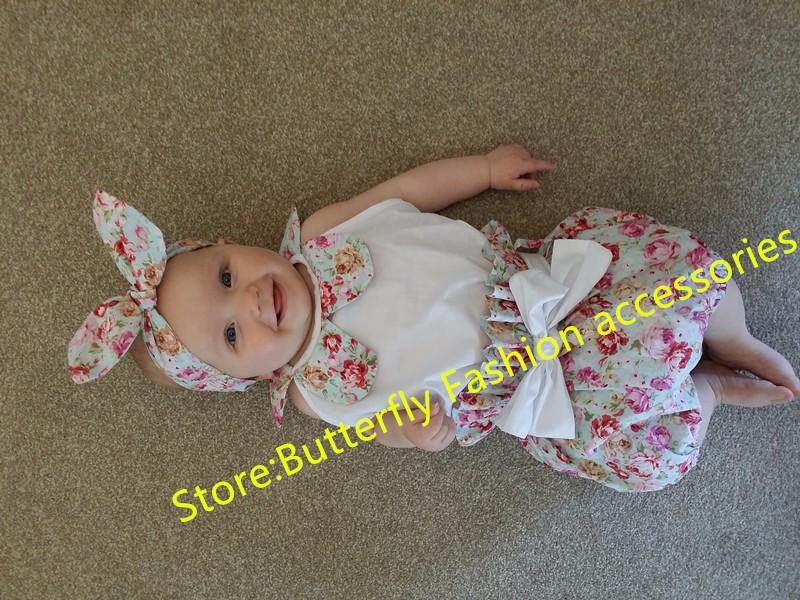 HTB1ZirZJVXXXXX9XFXXq6xXFXXXE - 2015New arrival baby toddler summer boutiques baby girls vintage floral ruffle neck romper cloth with bow knot shorts headband