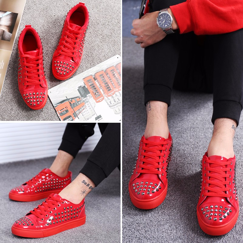 Fashion Patent Leather Men\'s Loubuten Shoes Zapatillas Superstar Casual Low Top Rivets Men Shoes Size 39-44 Round Toe Flats F13 (8)