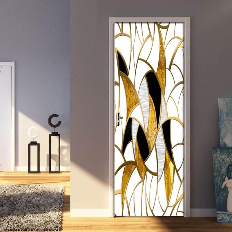 DIY Door Sticker Nordic Style Gold Geometry Wall Paper PVC Self-adhesive Wall Decals Living Room Bedroom Door Home Decor Sticker