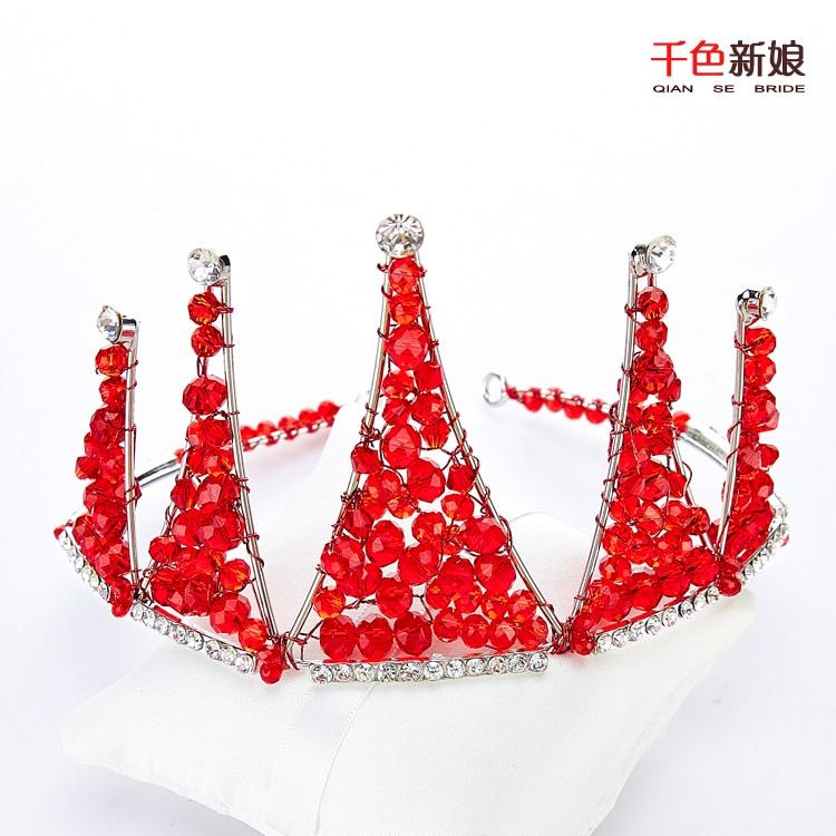 T3 Gorgeous Red Crystal Beads Crown women Tiara Golden Rhinestone jewelry corona bridal hairband hair accessories wedding zhenai
