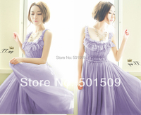 Free Ship Elastic Purple Reffles Long Chiffon Vintage Medieval Dress Renaissance Princess Costume Victorian Marie