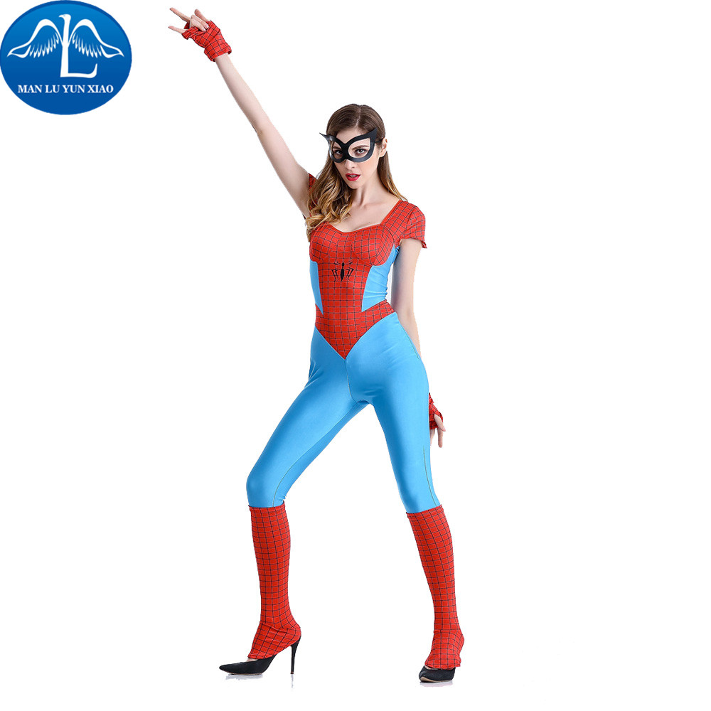 MANLUYUNXIAO Spiderman Costume Halloween Costumes For Women Fantasia Spiderman Costume Adult Christmas Carnival Clothes Jumpsuit