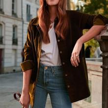 2019 nowych kobiet sztruks długa bluzka z długim rękawem sweter płaszcz tanie tanio Kobiety COTTON Na co dzień Pełna Kieszenie Stałe Skręcić w dół kołnierz REGULAR NoEnName_Null Women