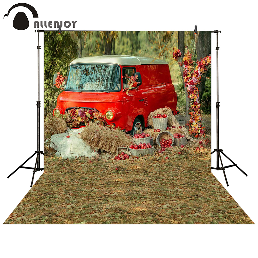 Allenjoy photography backdrop Car grass red countryside baby shower children background photo studio photocall allenjoy thin vinyl cloth photography backdrop blue background for studio photo pure color photocall wedding backdrop mh 076