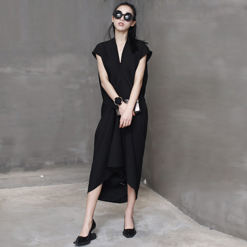 Simple Design Black Dress Women Natural Fabrics Solid Irregular Draped Hem V Neck Sleeveless Novelty Style New Fashion 2017 v neck black white stripe sleeveless irregular dress