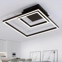 Новые черные квадратные современные светодио дный светодиодные потолочные светильники для гостиной спальни Plafon светодио дный Домашнее ос