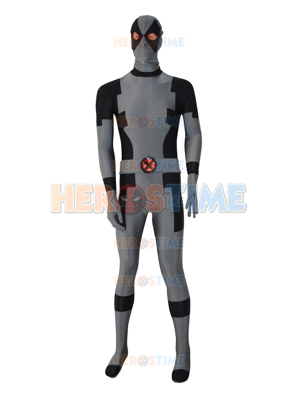 Deadpool Costume Black & Grey New Custom Adult Fullbody Halloween Cosplay Deadpool Superhero Costumes  free shipping