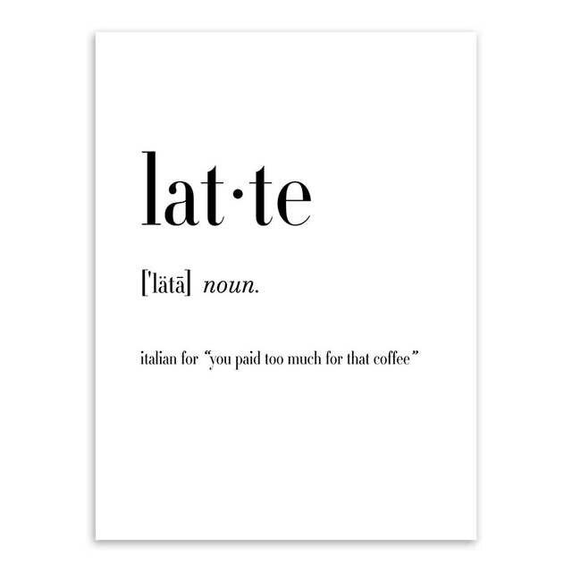 mini st typography food coffee tea quotes posters print nordic