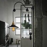 Черный Ретро Винтаж Регулируемый шкив длина железной стекло Чтение Настенные светильники E27 светодиодные фонари бра для ванной комнаты спа