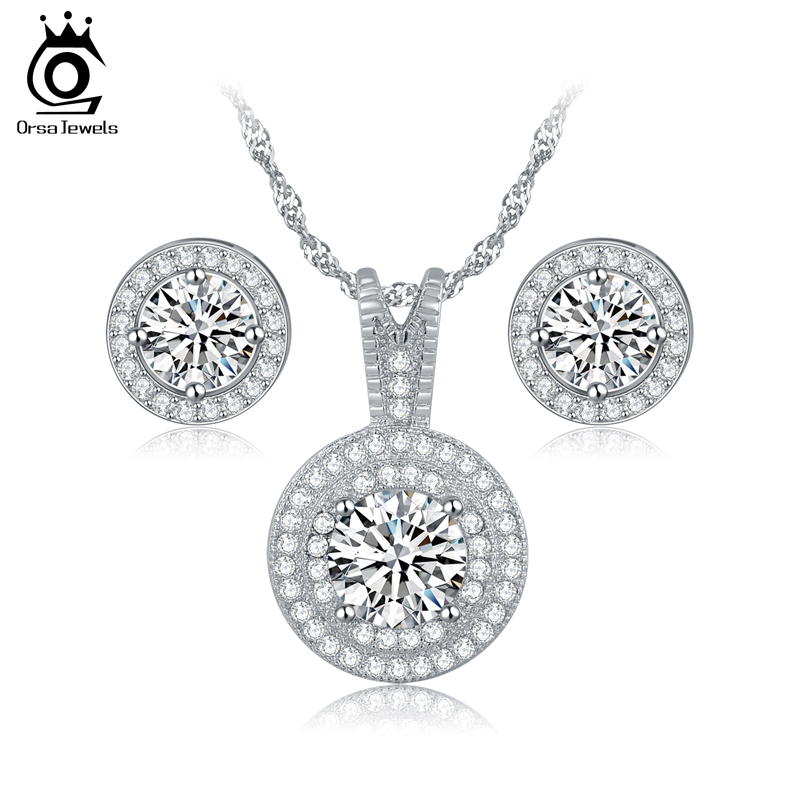Nueva Moda AAA Cubic Zirconia Jewelry Set Pendientes Y Collar Para la Boda de La