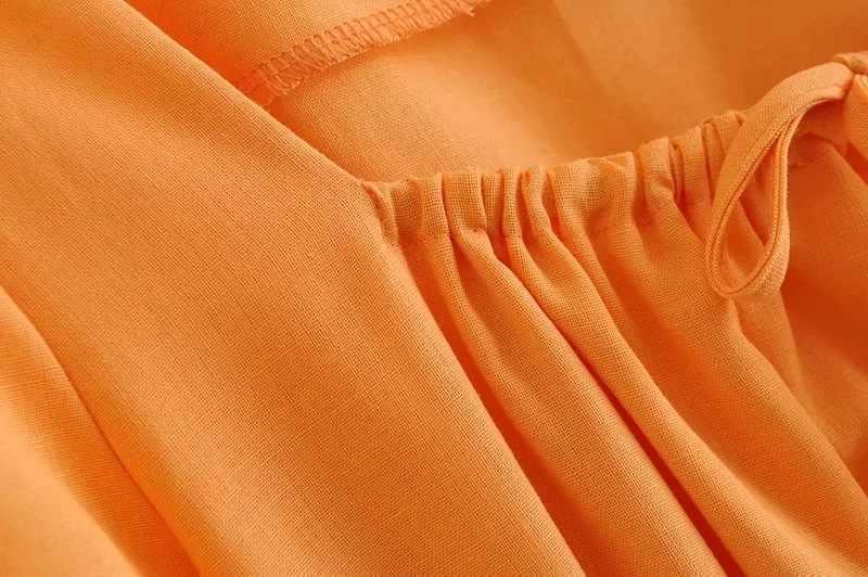 Bazaleas 2019 Vuông Cổ Áo Nơ Phụ Nữ Ăn Mặc Orange Đàn Hồi Eo vestidos quan hệ ruffles eo phụ nữ Dresses mùa xuân Ăn Mặc Giản Dị