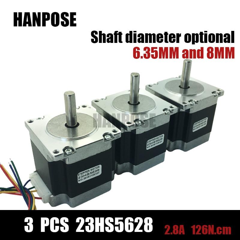 ФОТО Free shipping 3pcs 23HS5628 4-lead Nema 23 Stepper Motor 57 motor NEMA23 Stepper Motor 2.8A ISO CNC Laser Grind Foam Plasma Cut