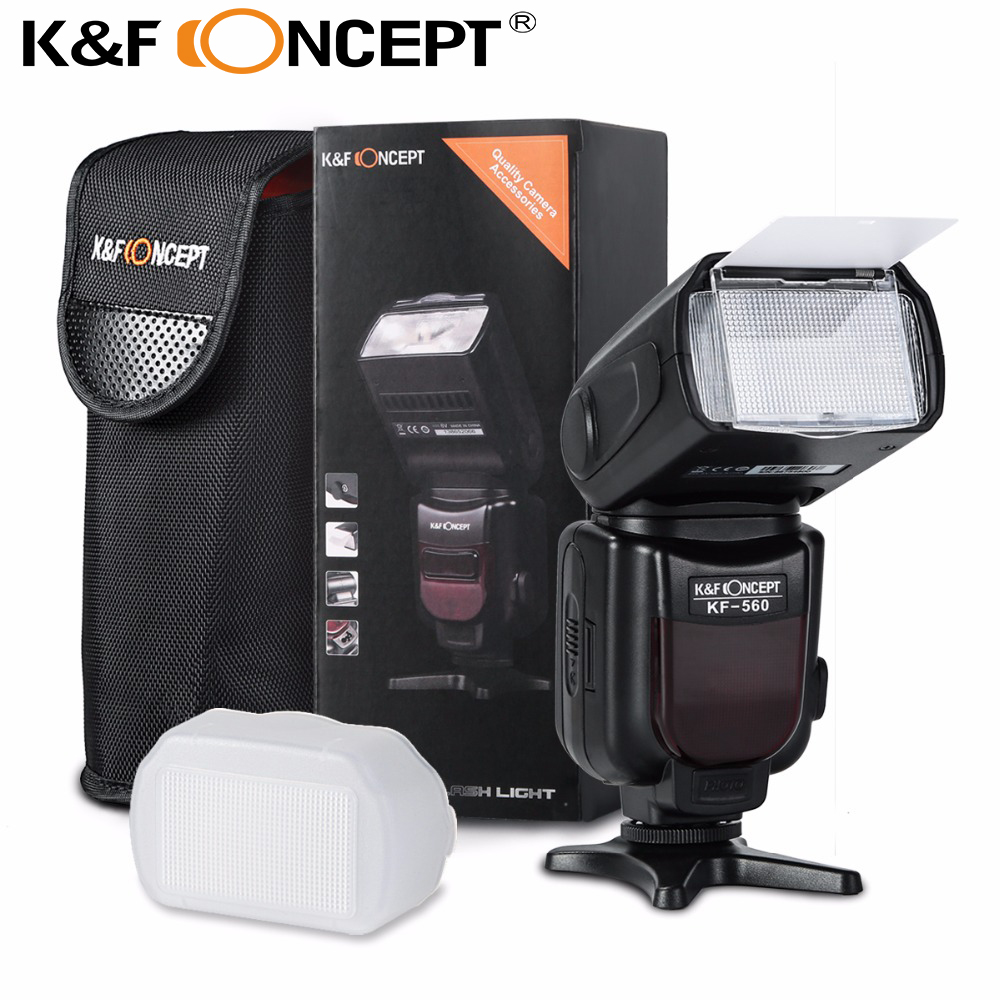 K&<font><b>F</b></font> CONCEPT Flash Speedlite KF560 HSS 1/<font><b>8000</b></font> Slave mode S1 S2 GN35 LCD Displsy Flash Light for Nikon Canon Fujifilm DSLR Cameras