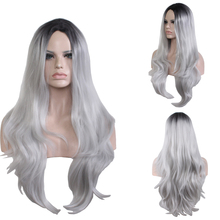 High Quality Black Grey Ombre Wig Cosplay Costume Synthetic Hair Middle Part Halloween Play Party Wigs For Women