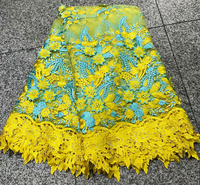 African French Lace Fabric 2018 Wedding Party Dress Embroidery Tulle Lace Fabric High Quality Nigerian Lace Fabric Yellow Color