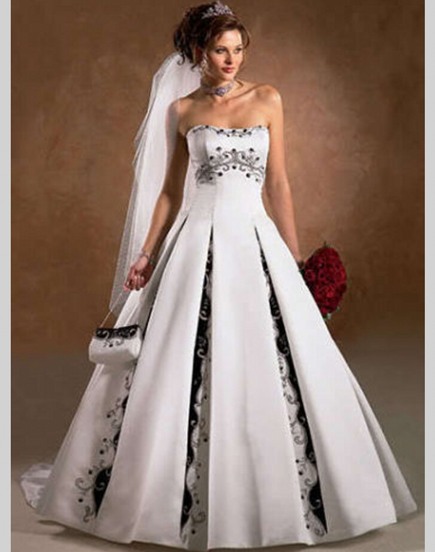 A Line Black And White Wedding Dress China Satin Bride Bridal Gown Vestidos De Noiva Robe Mariage Weddingdress In Dresses From