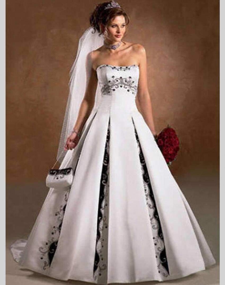 A Line Black and White Wedding Dress China Satin Bride