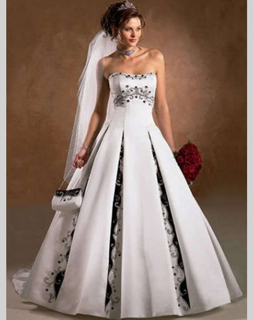 A Line Black and White Wedding Dress China Satin Bride Bridal Dress ...