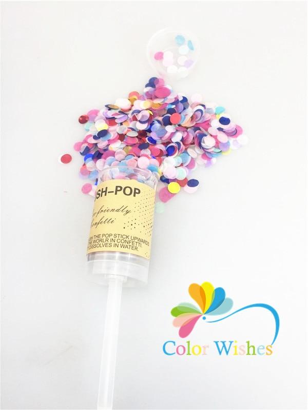 Acheter 10 pcs/ensemble DIY Ronde Push Pop Poppers Confettis pour Anniversaire Graduation Baby Shower Décorations de popper fiable fournisseurs