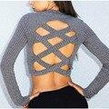 2016 Nuevas Llegadas de Las Mujeres Cruz Acanalado Knit Sweater Top de La Blusa camisas Tops Mujeres Sexy Blusas Body Mujeres de Talla grande Ropa blusas