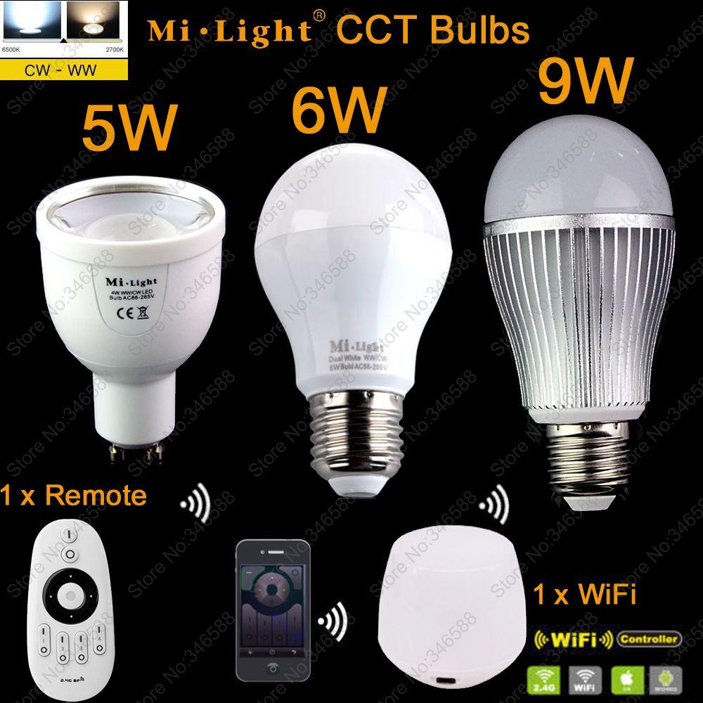 GU10 5W E27 6W 9W Mi.light Color Temperature Adjustable Dual White CW/WW CCT LED Bulb 110V 220V+2.4G Wireless Remote+ WiFi iBox1 dimmable mi light 2 4g gu10 5w color temperature adjustable dual white cw ww led bulb lamp ac85 265v 110v 220v wifi compatible