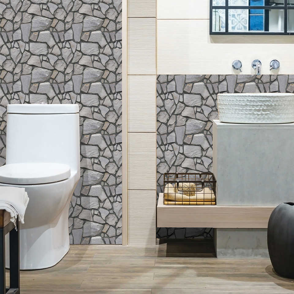 Bathroom Decor Kitchen Backsplash Tiles Decals 3D Stone Brick Self Adhesive  Wallpaper Home Decor Waterproof PVC Wall Stickers