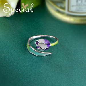 Image 5 - 特別なブランドファッションエナメル花リング紫チューリップエンドオープンリングサイズ調整可能な女性S1720R