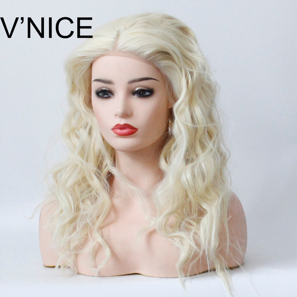 VNICE Platinum Blonde Lace Front Wig 613 Color Loose Wave Synthetic Hair Lace Wig Heat Resistant Fiber Blonde Wavy Wig ...