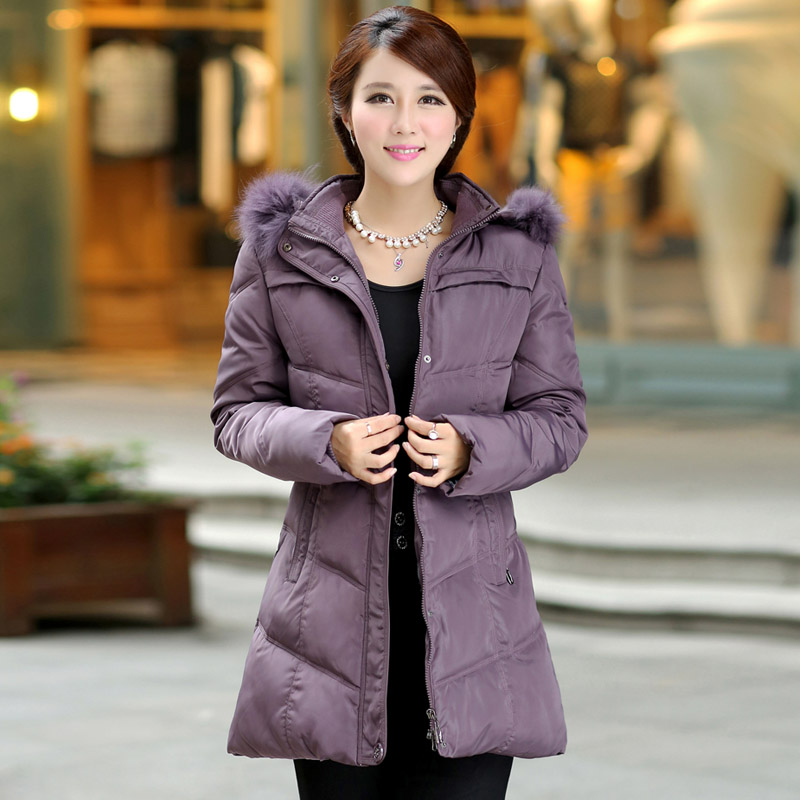 New 2015 Winter Coat Middle Aged Women Down Jacket Coat Thickened Plus Size Fur Collar Long High-Grade Warm Outwear H5359 100cm creative slim diy mesh bag for cosmetic makeup brush 12290