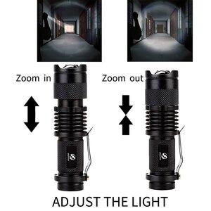 Image 2 - ไฟฉาย LED แบบพกพา Q5 + COB MINI สีดำกันน้ำ LED ไฟฉายใช้แบตเตอรี่ AA 14500 โคมไฟ