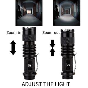Image 2 - Портативный светодиодный мини фонарик Q5 + COB, черный водонепроницаемый масштабируемый светодиодный фонарь, фонарик с аккумулятором AA 14500