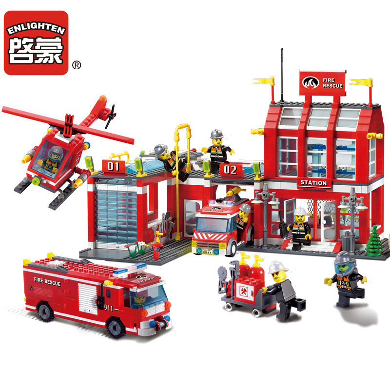 Kids Building Blocks Toys Moc City Fire Station 970pcs/set DIY Educational Bricks Toy Compatible With Legoes Best Kids Xmas Gift 12 pcs set diy figures city policeman fireman magician teacher nurse building blocks toys kids educational city set child gift