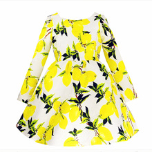 hot Girls long-sleeved dresses children lemon round collar princess dress hight quality