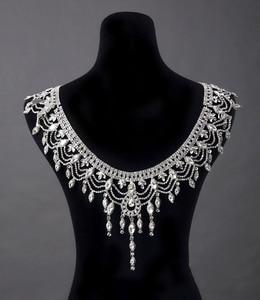 Image 5 - Nueva de lujo de la novia de la boda grande de cristal de encaje de la cadena nupcial princesa plataforma Prom V hombro joyería de cristales para collar